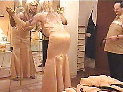 Spanked In Tight Satin Gown
