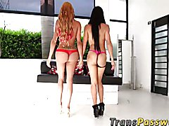 Two shemales Dubraska and Shakira having rough group sex