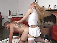 Hot thick blonde fucks man in pantyhose