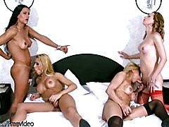 Lovely shemales lick and bang their huge butts in foursome