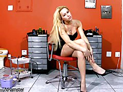 Perfect blonde shemale poses in black dress and wanks off  - clip # 02