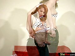 Redhead tranny is teasing big cock before hardcore jerking