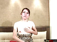 Dripping honey makes her thick shemale cock sticky and sweet  - clip # 02