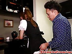 Asian uniformed cleaner cockriding after bj