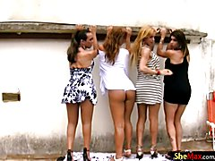 FULL movie of four seductive tgirls assfucking by the pool  - clip # 02