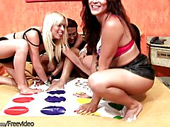 Four TS girlfriends play game of twister and get all naked