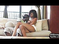 Ebony Tgirl and Black Boy Cum Together!