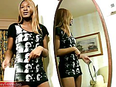 Black teen tranny strips down and blowjobs big white cock
