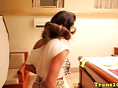 Busty brazilian tranny showing tanlines bts