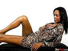 FULL video of cute black tranny petting bigtits and shecock  - clip # 02