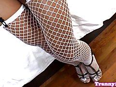 Ladyboy analfucked while jerking her cock