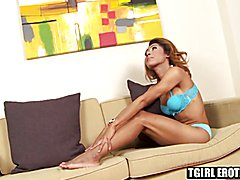 Asian shemale Lidia loves to play with her hard fat meat