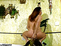 Redhead tattooed chick with dick is pumping her tranny dick  - clip # 02