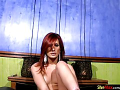 Naughty tranny shows shaved asshole in closeup and jacks off  - clip # 02