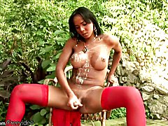 Chick with dick loves lotion in her ass crack while cumming