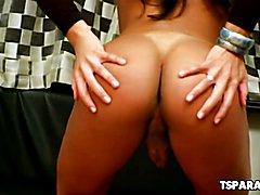 Latin TS Hottie Duda Lopez Storkes Her Cock
