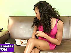 Nubian shemale buttfucked on couch