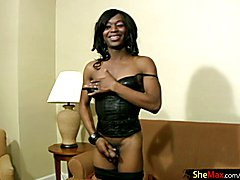 Cocoa skinned t-girl blowjobs white cock in POV and cumshots
