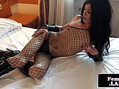Solo lingeried femboy toys her tight ass