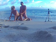 Herve fucked bareback Sissy Mya Swallow at the beach