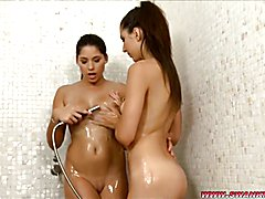 Bettina and Melinda Eat Pussy in the Shower