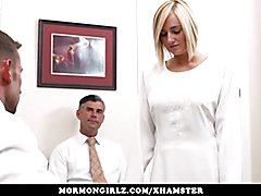 Mormongirlz -Shy blond gets spitroasted by Two men in church