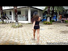 Ladyboy GF Cums In Public Shower!