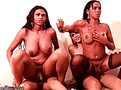 Bigtitted cock girls sit on thick shedicks in foursome orgy