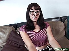 Trans teen amateur tugging during casting