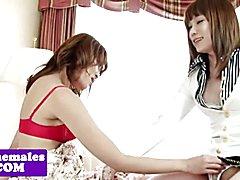 Amateur ladyboys lesbians grinding together