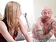 Fugly trans dude gets pussy pounded by ts Mandy Mitchell