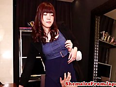 Cocksucking nippon tgirl assfucked standingup