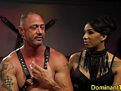 Busty inked ebony dom doggystyles sub