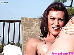 Busty transwoman jerks her cock outdoors