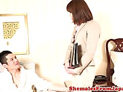 Office ladyboy cocksucked before assfucked