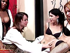 Four shedolls in black lingerie and stockings oil big asses