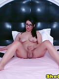 Gorgeous Hot Shemale Babe Faps her Cock