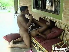 Erotic foreplay with shemale outdoors