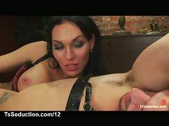 Shemale masturbates her bound lover