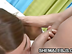 Latina shemale Melanie teasing a big cock
