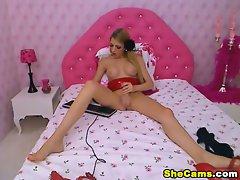 Beautiful Blonde Shemale Jerks Off