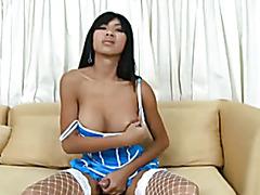 Brunette shemale sucking big penis