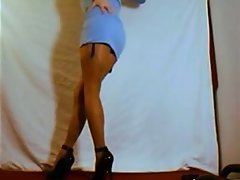 Pantyhose and stockings on tgirl