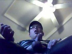 Amateur cock strokes on webcam