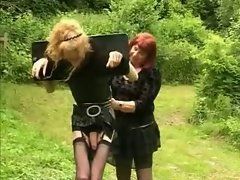 Shemale humiliated outdoors