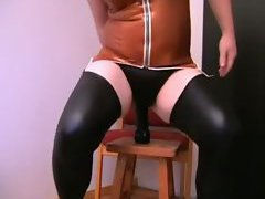 Latex sissy likes anal toy sex