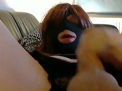 Masked crossdresser amateur masturbation