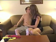 Young guy bareback with amateur shemale
