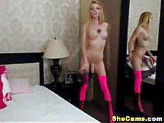 Hot Blonde Shemale Masturbating