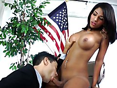 Hot and tanned shemale Jane Marie seduces her teacher